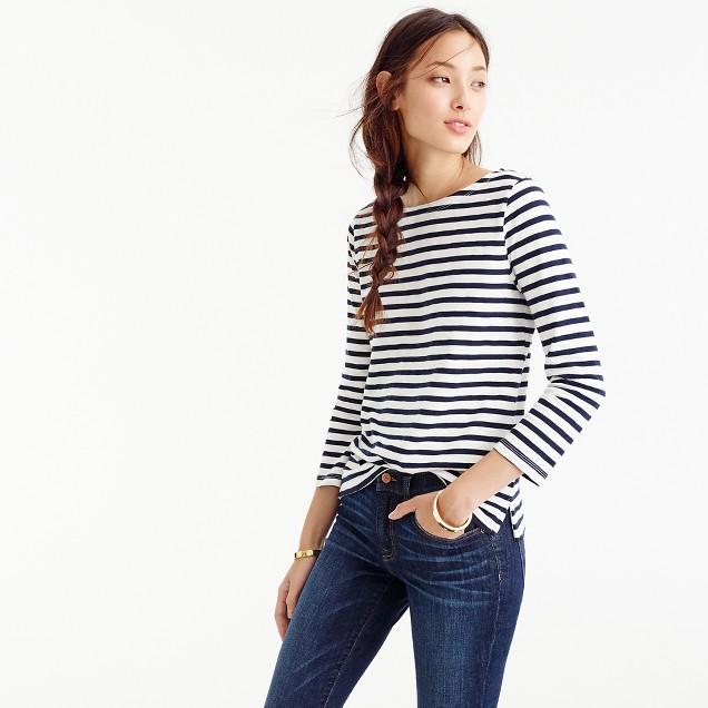 J Crew Striped Boatneck T Shirt