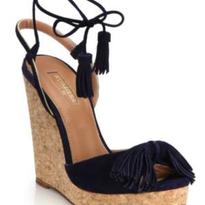 3c16cfee6d5 Aquazurra Wild One Tasseled Suede Cork Wedge Sandals