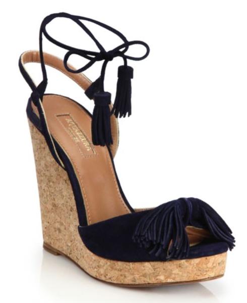 Aquazzura Wild One Tasseled Suede Cork Wedge Sandals