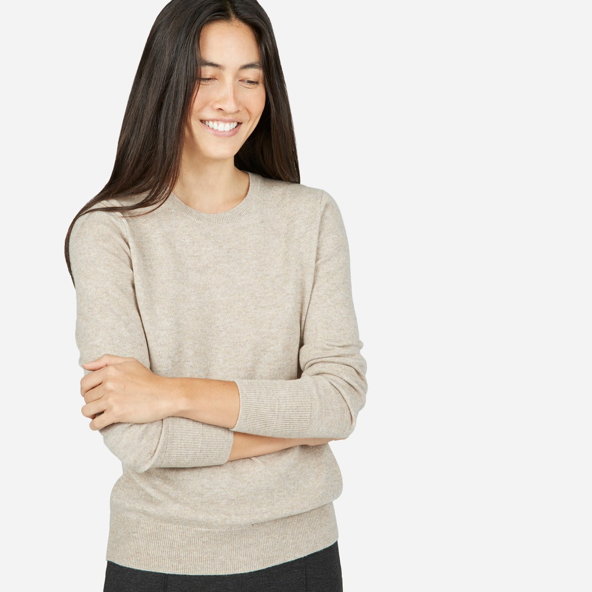 Everlane The Cashmere Crew In Oatmeal