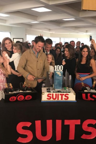 Meghan Celebrates Suits' 100th Episode with Suits Cast