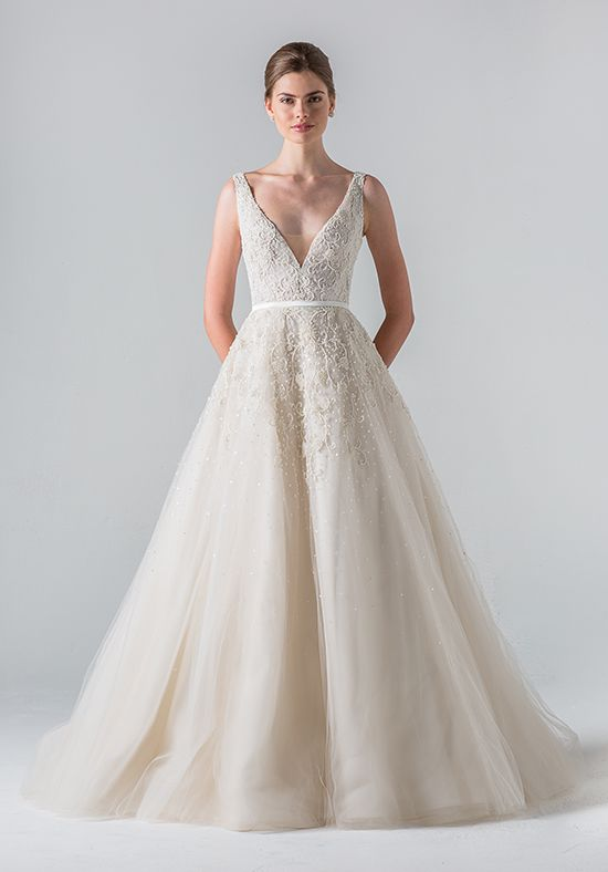 Meghans possible wedding dress style fashioned from italian fabric this plunging v neck gown is complemented by a sheer beaded back intricate tone on tone beading scatters out across a full junglespirit Image collections