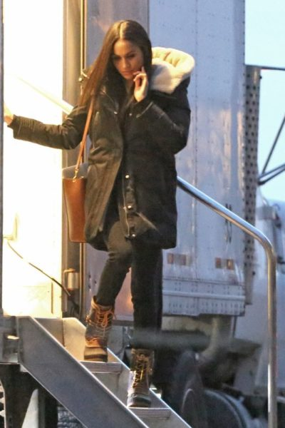 Meghan Markle Seen Leaving Suits Trailer in Toronto