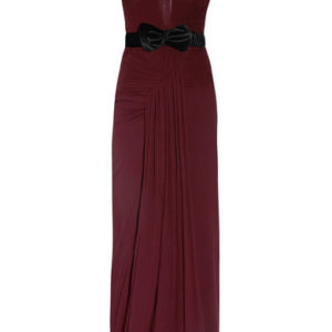 Burberry Prorsum Belted Crinkled Silk-Crepe Gown