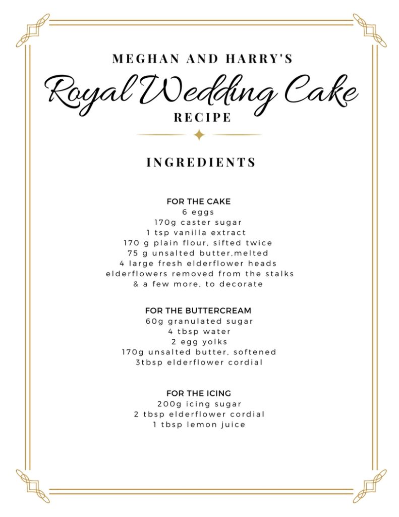 Royal Wedding Recipe Wedding Cake Meghan Harry