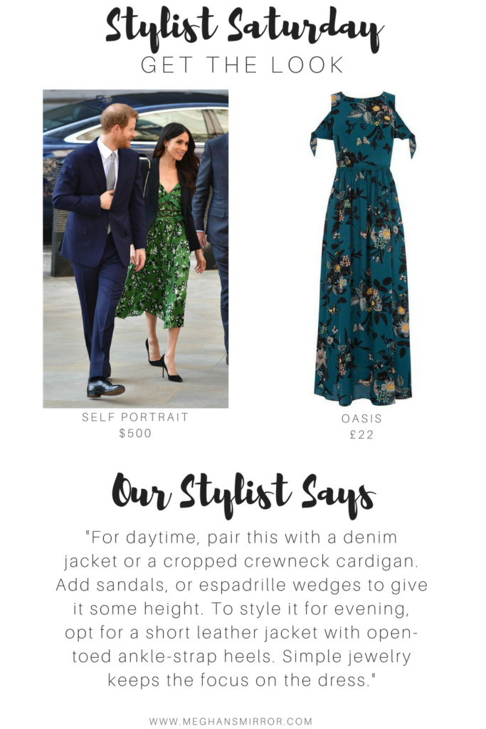 Meghan Markle Lookalike Style Green Floral Dress
