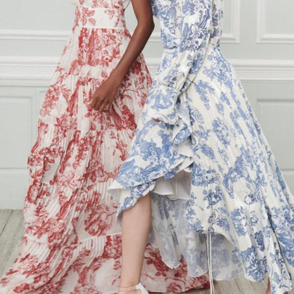 Oscar de la renta chiffon floral dress for De la renta wedding dresses